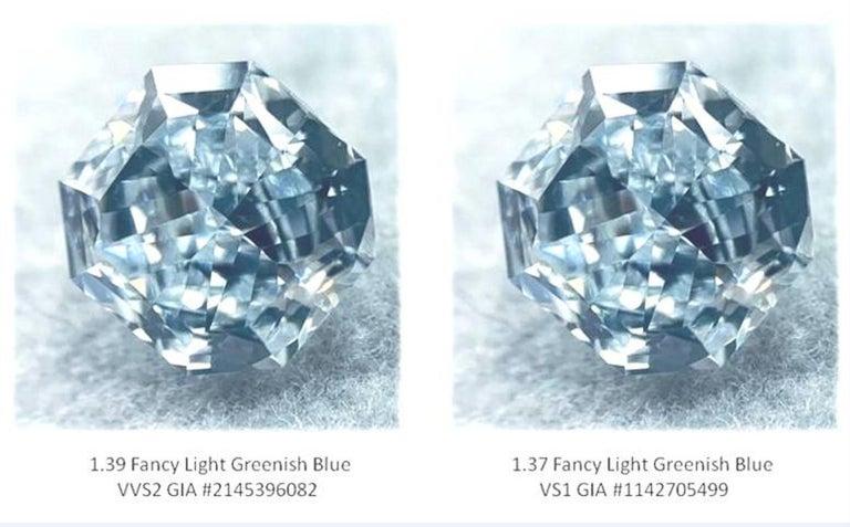 GIA Certified 2.76 Carat TW Radiant Natural Fancy Light Greenish Blue Diamonds For Sale 4