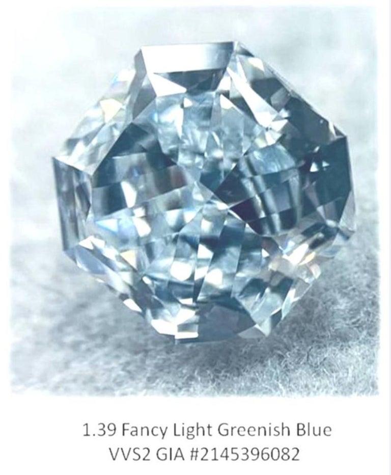 GIA Certified 2.76 Carat TW Radiant Natural Fancy Light Greenish Blue Diamonds For Sale 6
