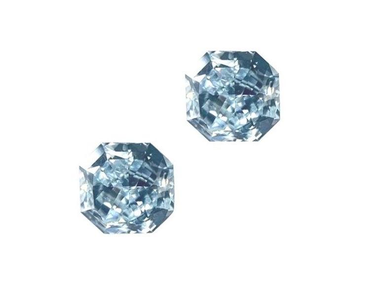 GIA Certified 2.76 Carat TW Radiant Natural Fancy Light Greenish Blue Diamonds For Sale 7