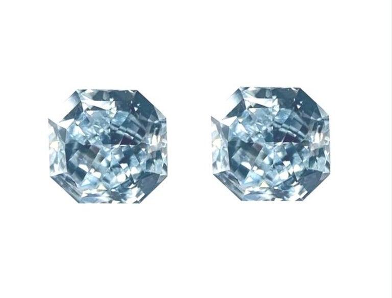 GIA Certified 2.76 Carat TW Radiant Natural Fancy Light Greenish Blue Diamonds For Sale 8