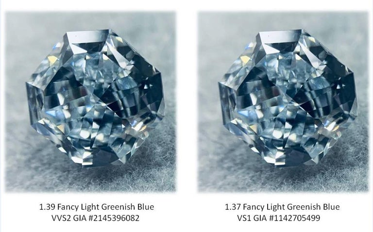 Incredible Deal on Extremely Rare Pair of GIA Certified 2.76 Carat Total Weight Radiant Cut, Natural Fancy Light Greenish Blue, Even Color Diamonds.  A find like this does not come by often, these Radiant Cut Diamonds are a Very Rare Set of