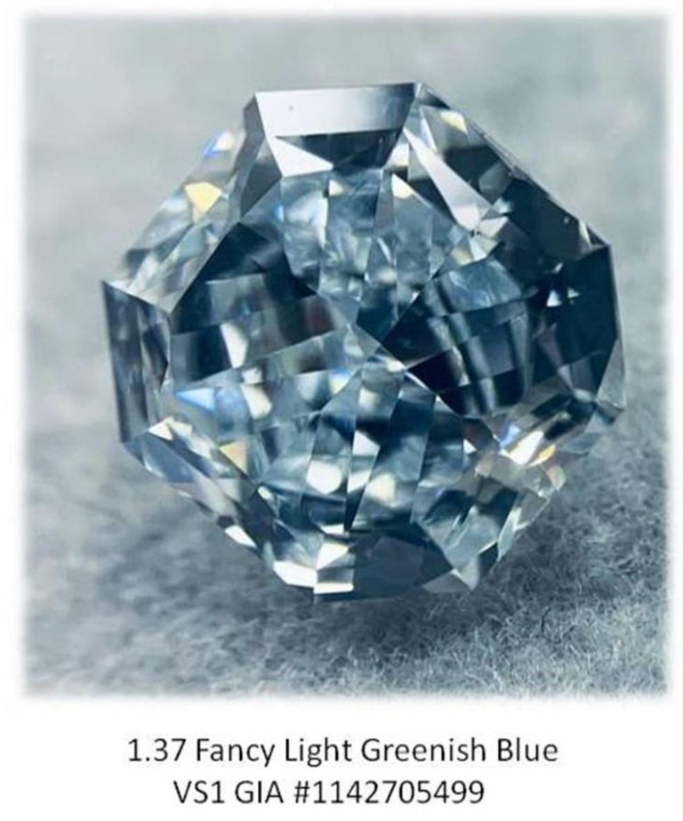 GIA Certified 2.76 Carat TW Radiant Natural Fancy Light Greenish Blue Diamonds In New Condition For Sale In New York, NY