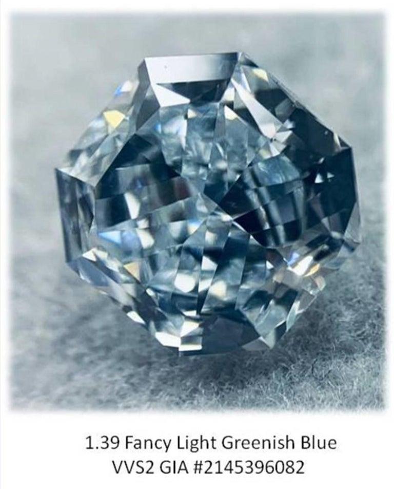 Women's GIA Certified 2.76 Carat TW Radiant Natural Fancy Light Greenish Blue Diamonds For Sale
