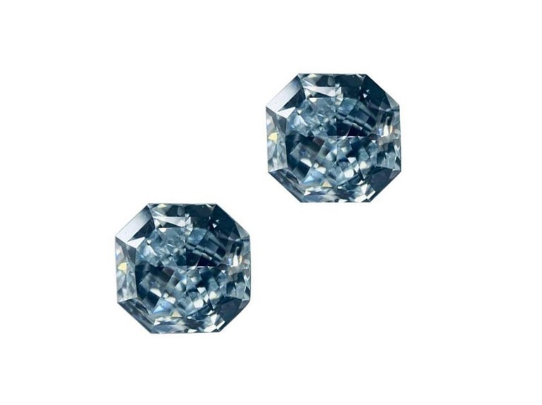 GIA Certified 2.76 Carat TW Radiant Natural Fancy Light Greenish Blue Diamonds For Sale 1