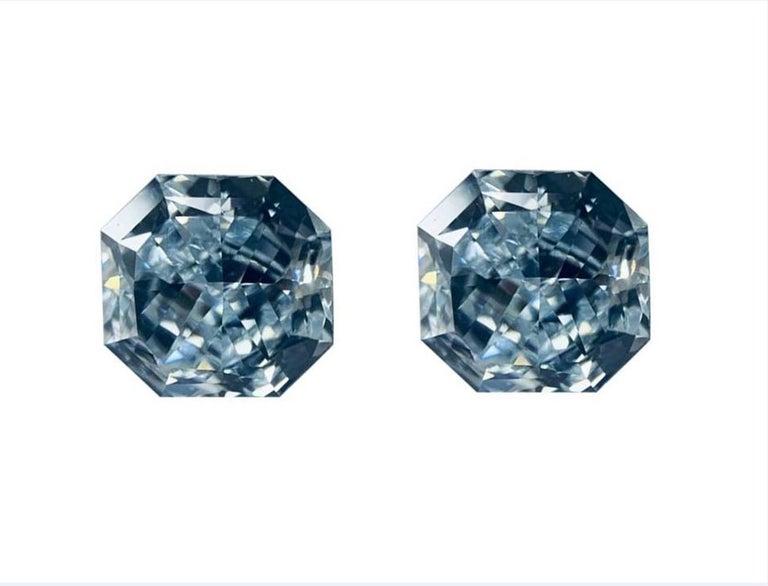 GIA Certified 2.76 Carat TW Radiant Natural Fancy Light Greenish Blue Diamonds For Sale 2