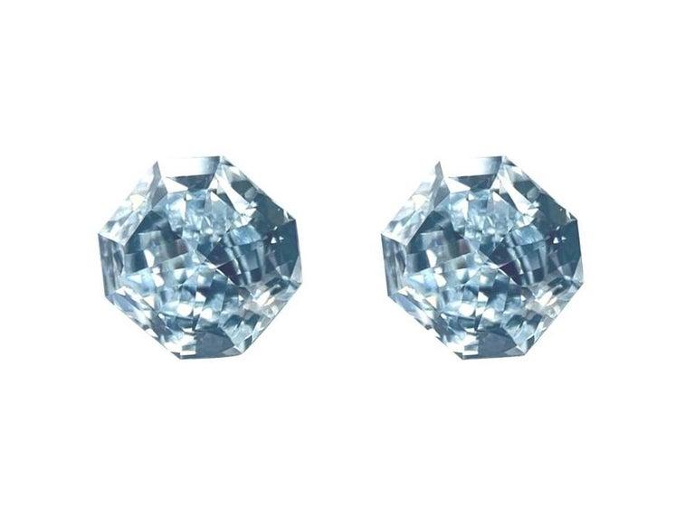 GIA Certified 2.76 Carat TW Radiant Natural Fancy Light Greenish Blue Diamonds For Sale 3