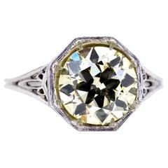 GIA Certified 2.76 Ct Old Euro Diamond Art Deco Ring