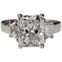 """GIA Certified 2.77 Carat Diamond Radiant Cut Color """"D"""" with Trapizoids"""