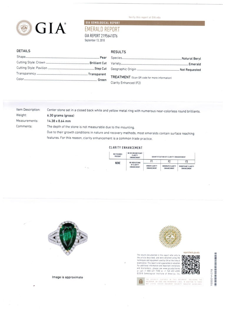 GIA Certified 2.79 Carat Emerald Pear Diamond Halo Two-Color Gold Ring For Sale 4