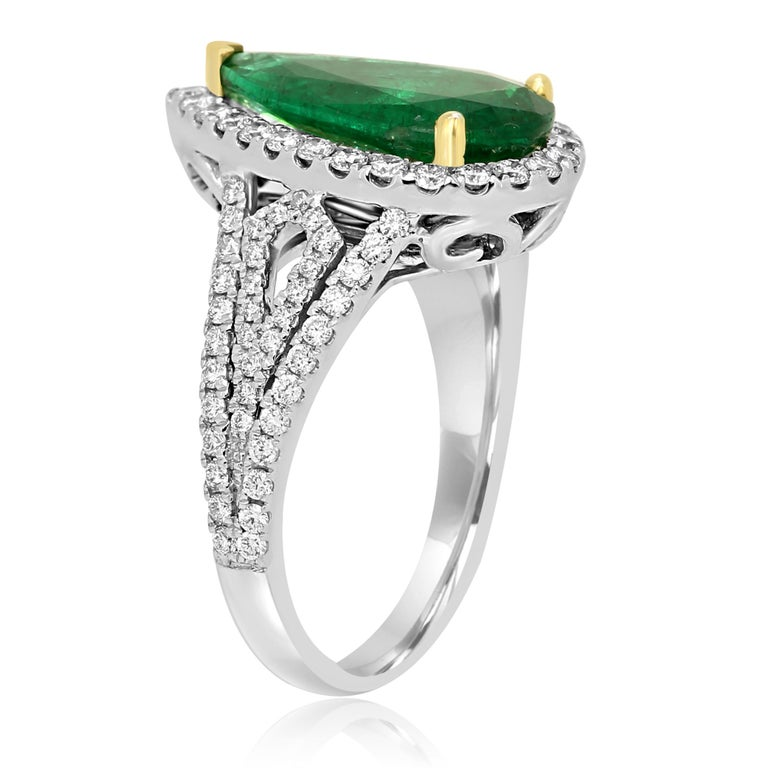 GIA Certified 2.79 Carat Emerald Pear Diamond Halo Two-Color Gold Ring In New Condition For Sale In NEW YORK, NY