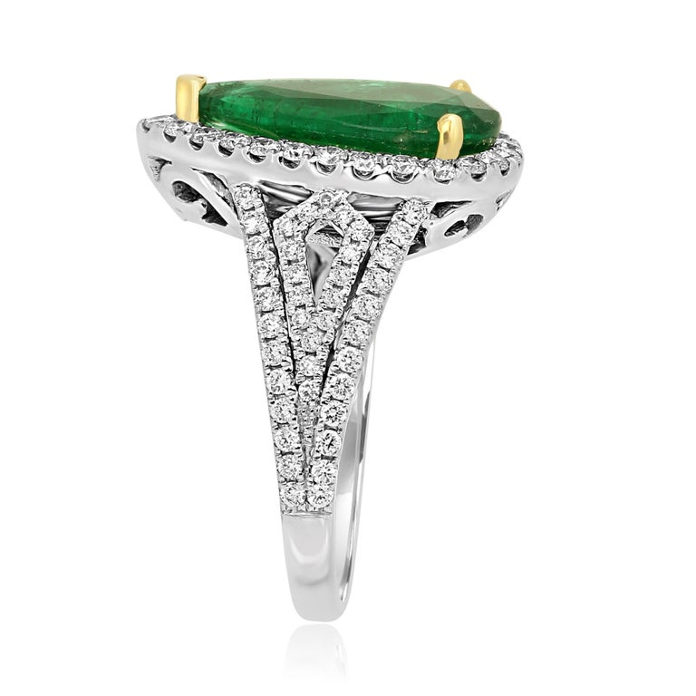Women's GIA Certified 2.79 Carat Emerald Pear Diamond Halo Two-Color Gold Ring For Sale