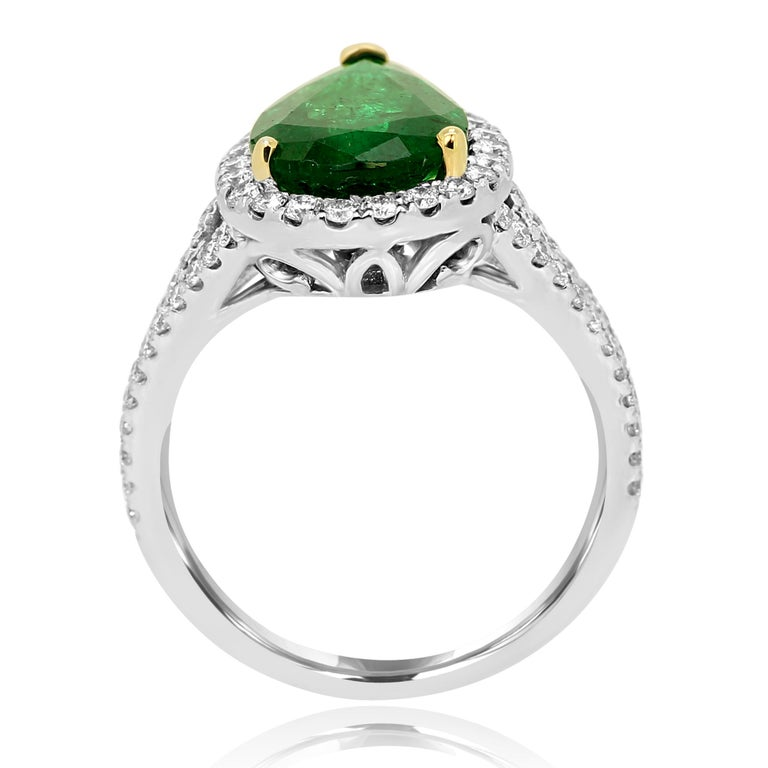 GIA Certified 2.79 Carat Emerald Pear Diamond Halo Two-Color Gold Ring For Sale 1
