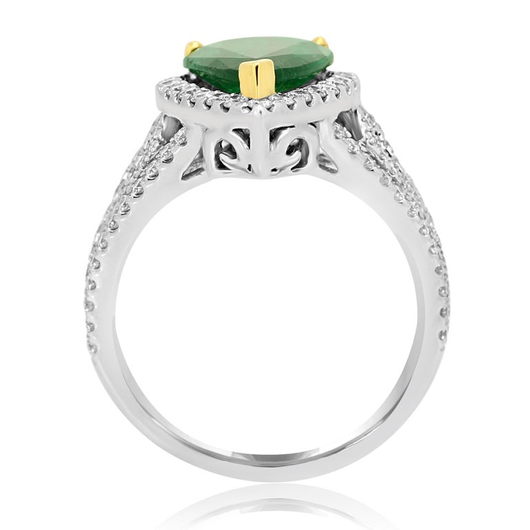 GIA Certified 2.79 Carat Emerald Pear Diamond Halo Two-Color Gold Ring For Sale 2