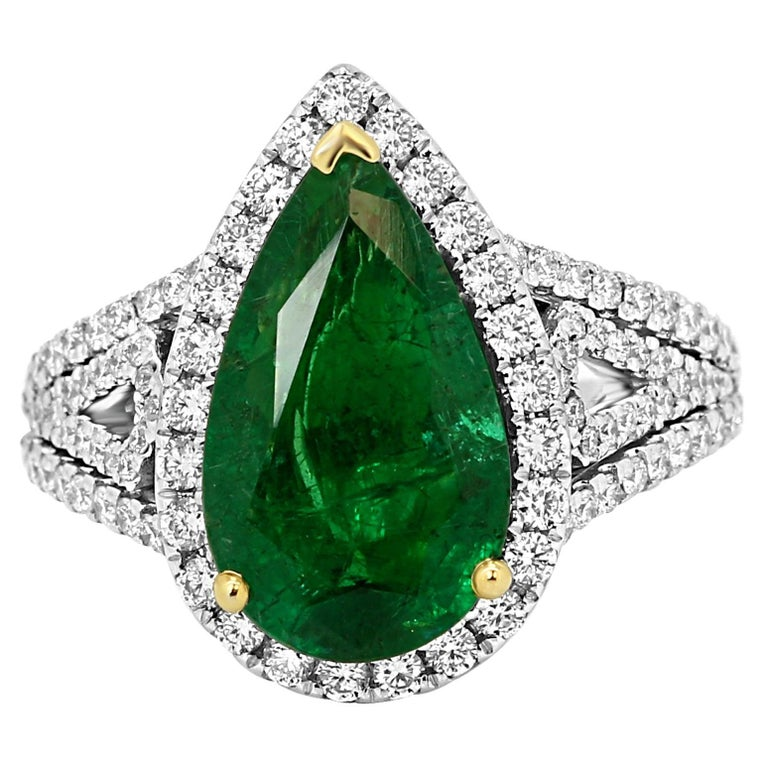 GIA Certified 2.79 Carat Emerald Pear Diamond Halo Two-Color Gold Ring For Sale