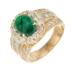 GIA Certified 2.80 Carat Emerald Diamond Gold Cocktail Ring