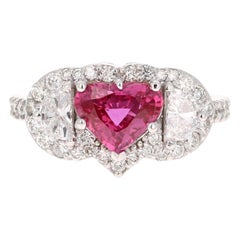 GIA Certified 2.80 Carat Heart Cut Ruby Diamond 18 Karat White Gold Ring