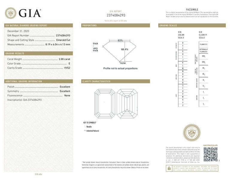 Modern GIA Certified 2.50 Carat VVS2 E Color Emerald Cut Diamond For Sale
