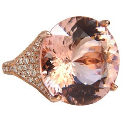GIA Certified 28.14ct Natural Round Morganite Diamonds Ring 14kt Raised Crown