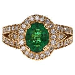 GIA Certified 2.82 Carat Emerald Diamond 14 Karat Yellow Gold Ring