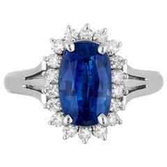 GIA Certified 2.83 Carat Natural No Heat Cushion Sapphire Diamond Cocktail Ring