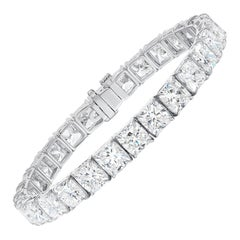 GIA Certified 28.37 Carat Gold Cushion Diamond Tennis Bracelet Natural F-G Color