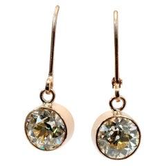 GIA Certified 2.84 Cttw Old European Cut Diamond Earrings in Rose Gold