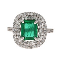 GIA Certified 2.86 Carat Emerald Diamond 14 Karat White Gold Engagement Ring