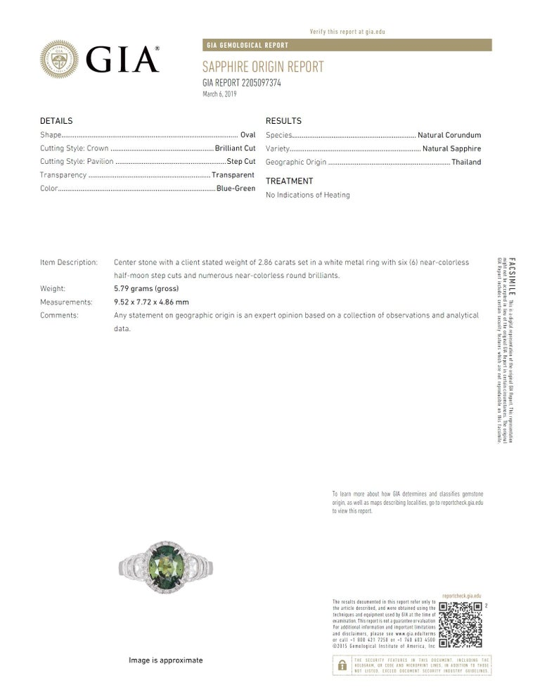 Women's GIA Certified 2.86 Carat Oval Unheated Forest Green Sapphire and Diamond Ring For Sale