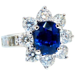 GIA Certified 2.87ct Natural No Heat Sapphire 2.64ct Diamond Ring Unheated 14kt