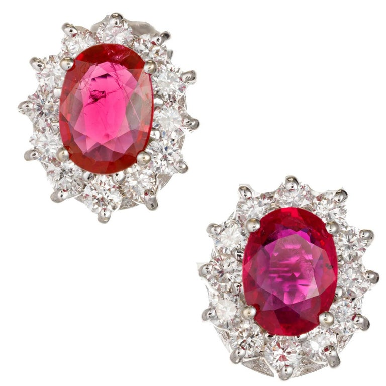GIA Certified 2.88 Carat Bright Red Oval Ruby Diamond Gold Stud Earrings