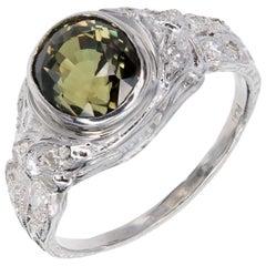 GIA Certified 2.89 Carat Alexandrite Diamond Platinum Engagement Ring