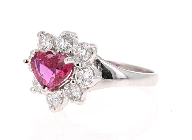 Modern GIA Certified 2.89 Carat Heart Cut Ruby Diamond Ring 18 Karat White Gold For Sale
