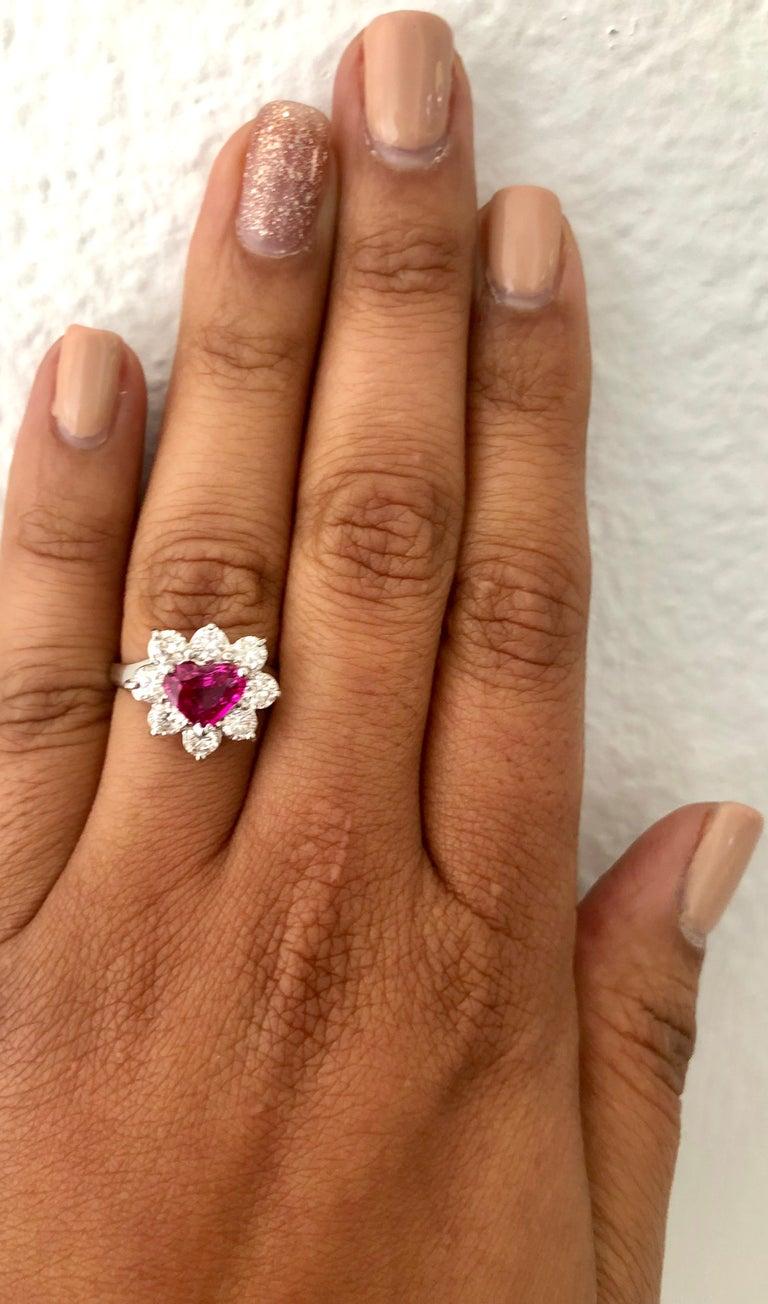 Women's GIA Certified 2.89 Carat Heart Cut Ruby Diamond Ring 18 Karat White Gold For Sale