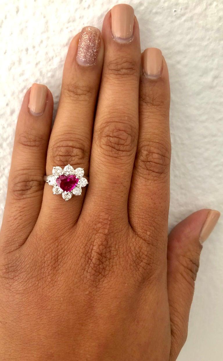 GIA Certified 2.89 Carat Heart Cut Ruby Diamond Ring 18 Karat White Gold For Sale 1