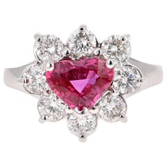 GIA Certified 2.89 Carat Heart Cut Ruby Diamond Ring 18 Karat White Gold