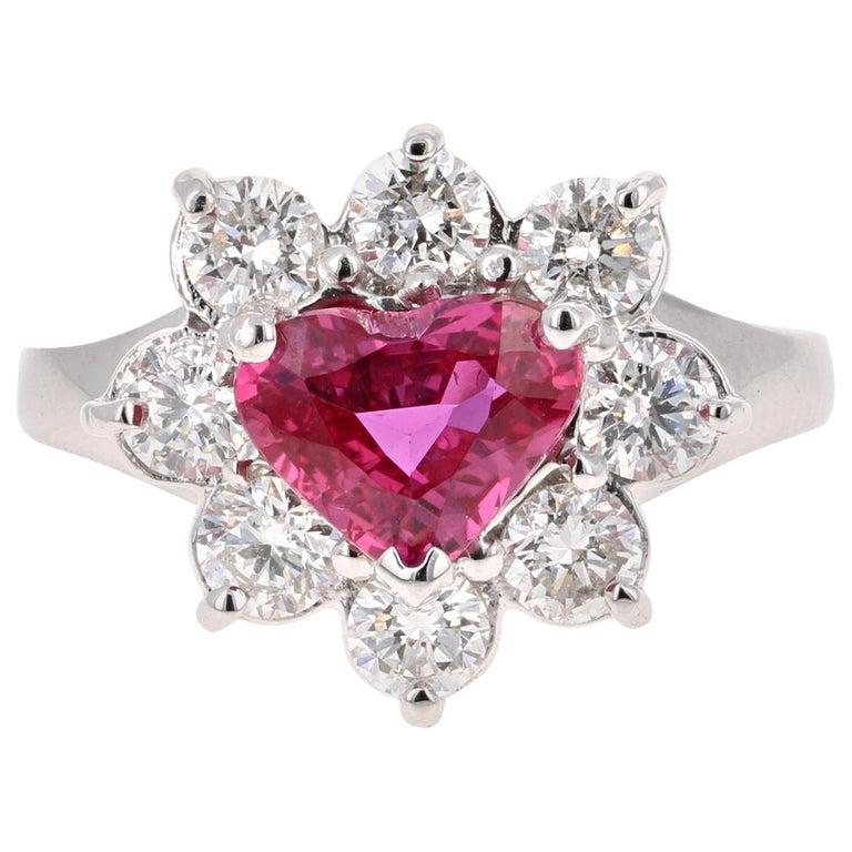 GIA Certified 2.89 Carat Heart Cut Ruby Diamond Ring 18 Karat White Gold For Sale