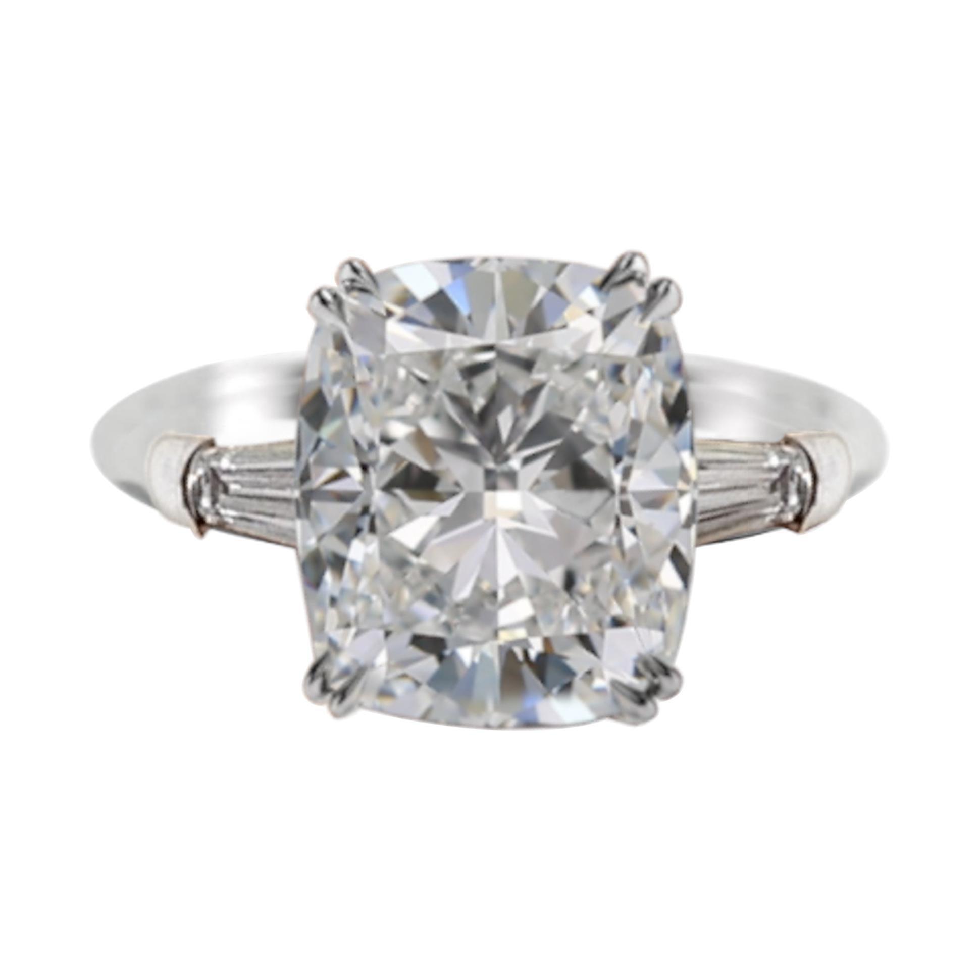 GIA Certified 3.65 Carat Cushion Modified Brilliant Diamond Platinum Ring