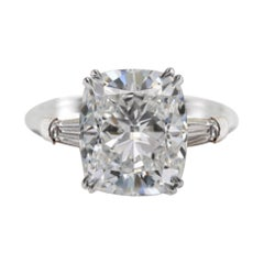 GIA Certified 2.90 Carat Cushion Modified Brilliant Diamond Platinum Ring
