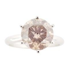 GIA Certified 2.90 Carat Natural Fancy Light Brown Round Diamond Ring