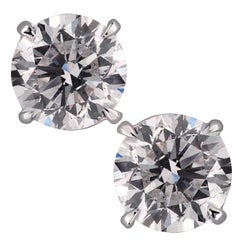 Vivid Diamonds GIA Certified 2.92 Carat Diamond Stud Earrings