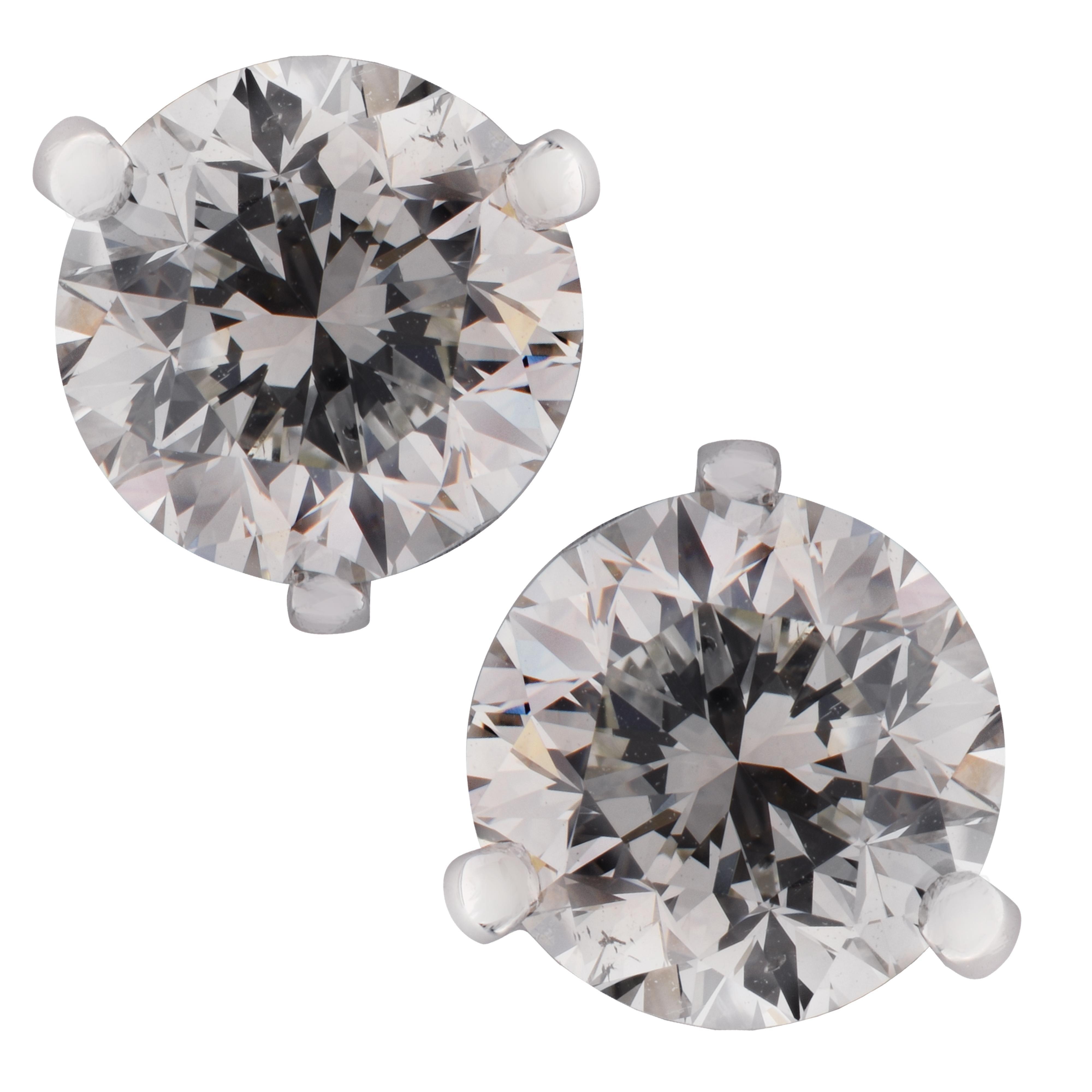 Vivid Diamonds GIA Certified 2.93 Carat Diamond Stud Earrings