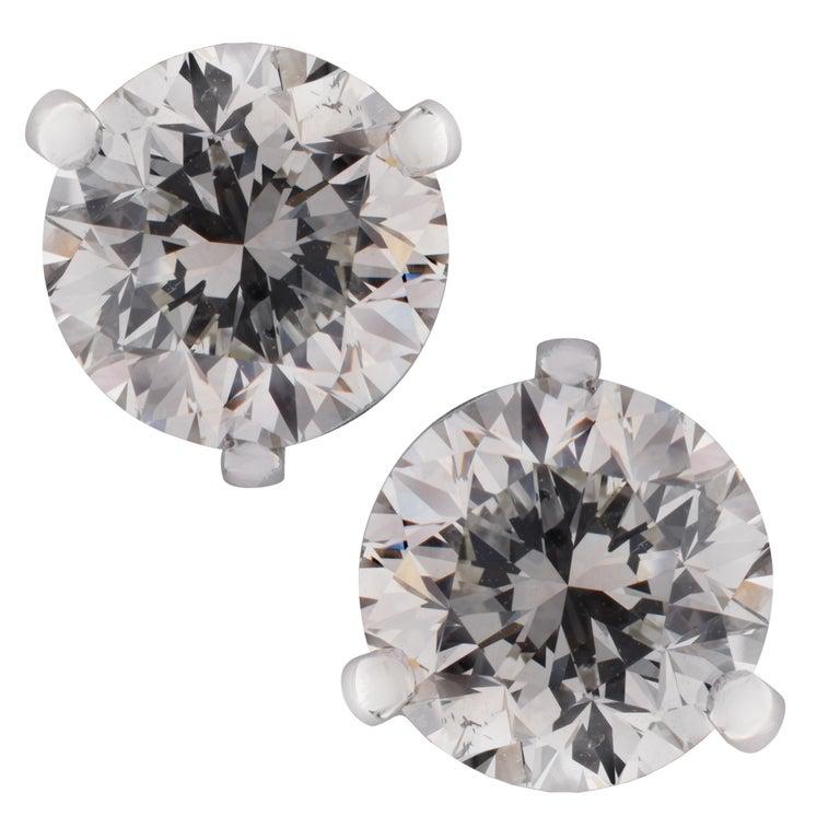 Vivid Diamonds GIA Certified 2.93 Carat Diamond Stud Earrings For Sale
