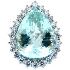 GIA Certified 29.31 Carat Natural Pear Shaped Aquamarine Diamonds Ring 14 Karat