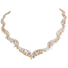 DiamondTown GIA Certified 29.43 Carat Handcrafted Natural Color Diam Tiara Neck.