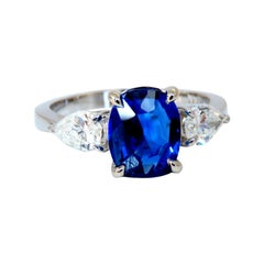 GIA Certified 2.94ct Natural No Heat Blue Sapphire Diamonds Ring 14kt