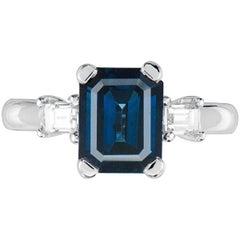 GIA Certified 2.95 Carat Natural Ceylon Blue Sapphire 14 Karat White Gold Ring
