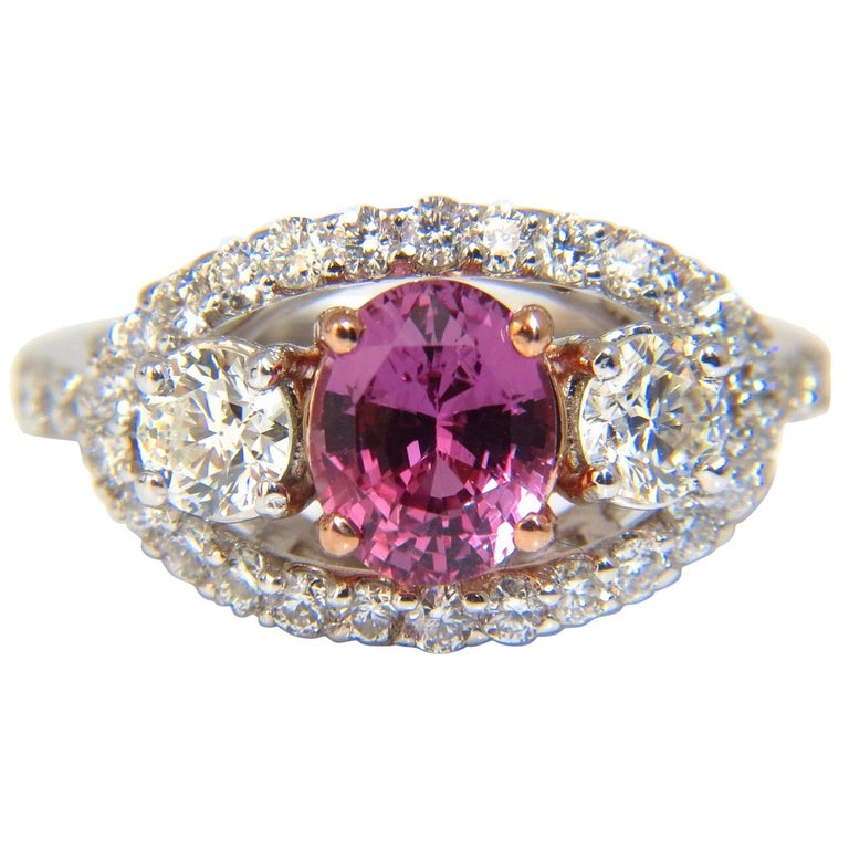 GIA Certified 2.97ct natural no heat vivid pink sapphire ring three stone wrap For Sale