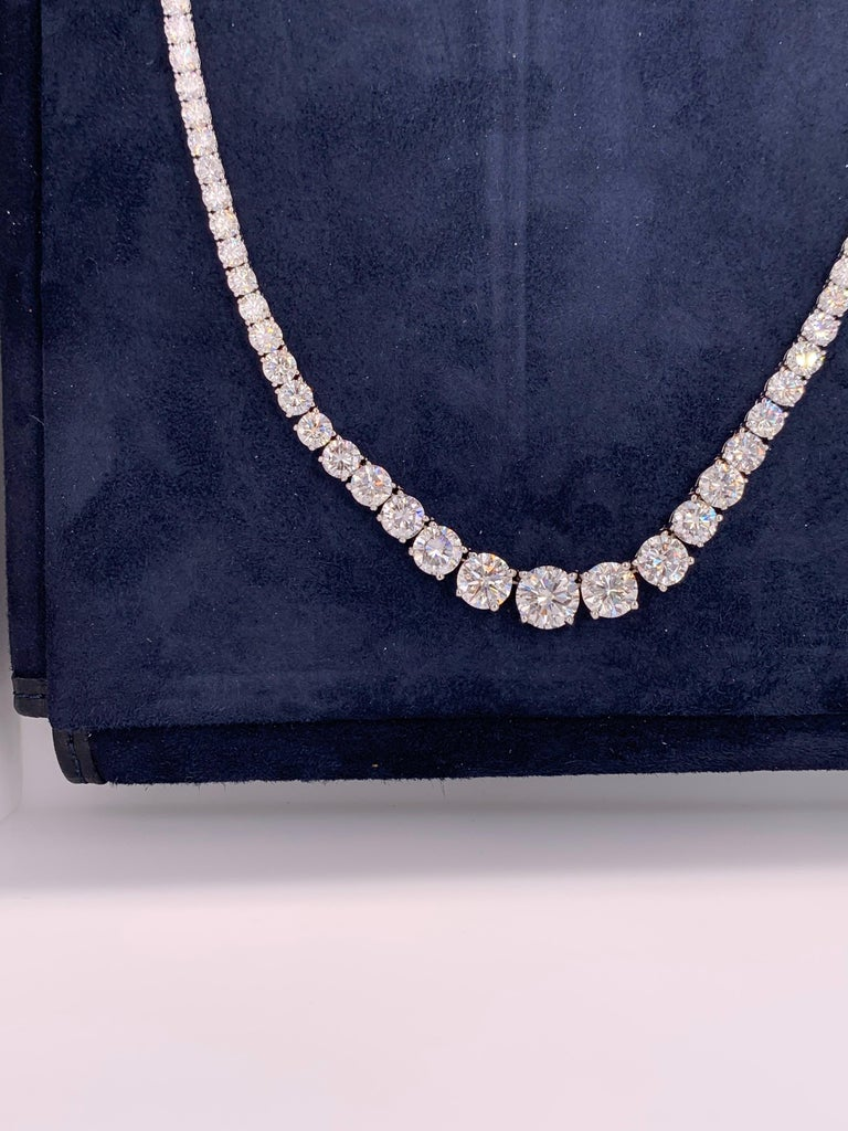 Women's or Men's GIA Certified 29.85 Carat Diamond Graduated Riviera Necklace For Sale