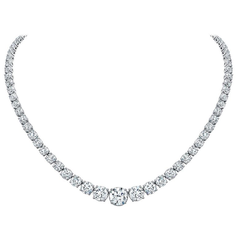 GIA Certified 29.85 Carat Diamond Graduated Riviera Necklace For Sale