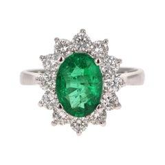 GIA Certified 2.99 Carat Emerald Diamond 18 Karat White Gold Engagement Ring